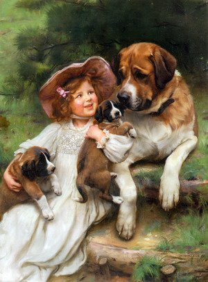 Girl with Collie and puppys sheep herder by  Arthur John Elsley vintage art