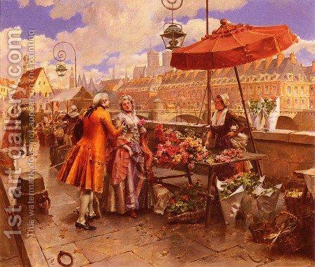 The Flower-Seller Along The Seine by Henri Victor Lesur - Reproduction Oil Painting