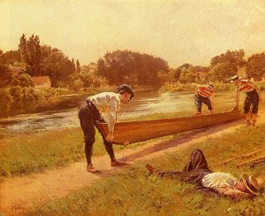 Reproduction oil paintings - Joseph Ferdinand Gueldry - Le Repos Des Canotiers (The Rowers Rest)
