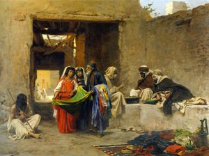 Famous paintings of Villages: At The Souk