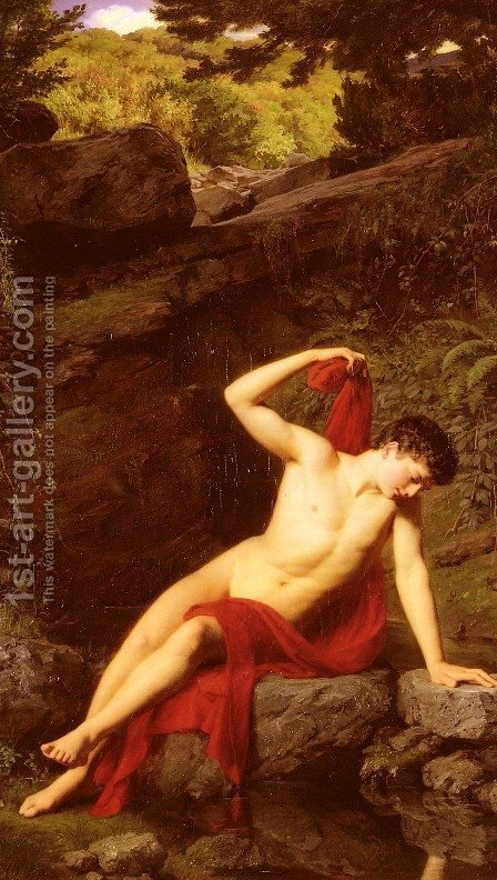 Narcissus by Adolf Joseph Grass - Reproduction Oil Painting