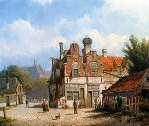 Famous paintings of Villages: Houses Along A Village Street In Summer