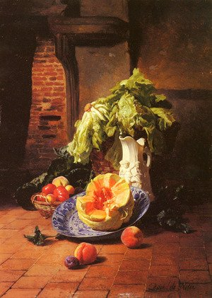 Reproduction oil paintings - David Emil Joseph de Noter - A Still Life With A White Porcelain Pitcher, Fruit And Vegetables