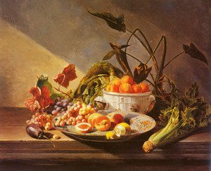 A Still Life With Fruit And Vegetables On A Table