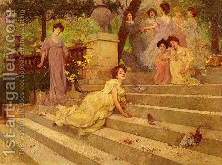 Girls on a Terrace by Albert Emile Artigue - Reproduction Oil Painting