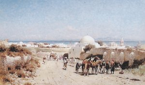 Famous paintings of Villages: In the Desert