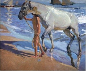 Famous paintings of Horses & Horse Riding: El bano del caballo (The Horse's Bath)