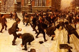 Famous paintings of Other: Die Schneeballschlacht (The Snowball Fight)