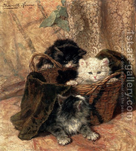 Playtime by Henriette Ronner-Knip - Reproduction Oil Painting