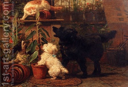 In The Greenhouse by Henriette Ronner-Knip - Reproduction Oil Painting