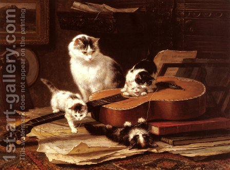 Oefeningen Op De Gitaar (Playing with the Guitar) by Henriette Ronner-Knip - Reproduction Oil Painting