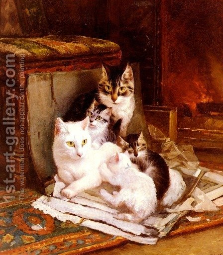 The Happy Litter by Henriette Ronner-Knip - Reproduction Oil Painting