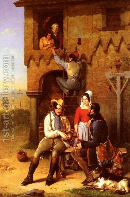Flirtation at the Town Gate by Adolphe Bernard - Reproduction Oil Painting