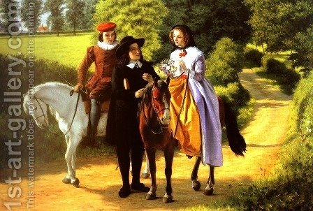 Milton's first meeting with Mary Powell, accompanied by her brother by Alfred Rankley - Reproduction Oil Painting
