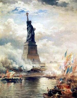 Famous paintings of Ships & Boats: Unveiling the Statue of Liberty