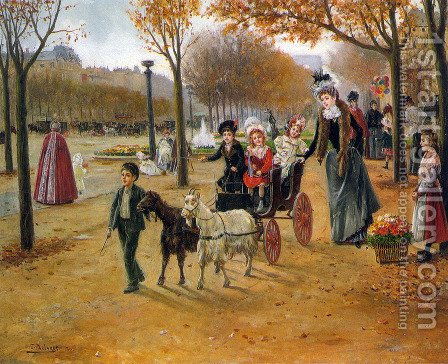 La promenade au Champs Elysees by Joaquin Pallares y Allustante - Reproduction Oil Painting