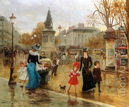 Joaquin Pallares y Allustante: Une Place Animee a Paris - reproduction oil painting