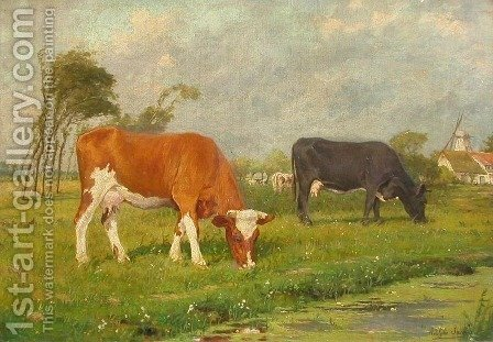 Lost Masterpiece: Holland Cattle by Adolphe Jacobs - Reproduction Oil Painting