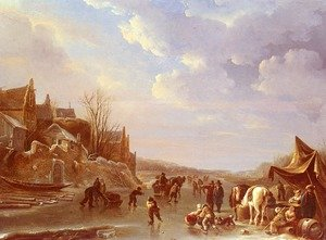Famous paintings of Villages: A Winter Scene In Holland