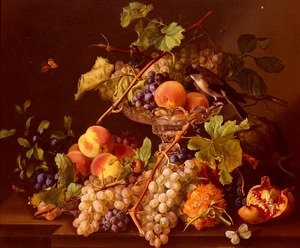Famous paintings of Butterflies: A Still Life With Song Bird And Fruit In A Crystal Tazza