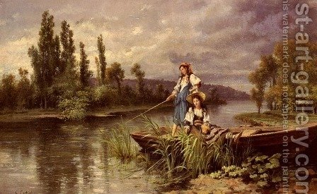 On The River At Dusk by Giuseppe Castiglione - Reproduction Oil Painting