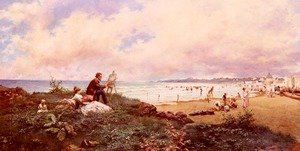 The Artist And His Family On The Beach At Biarritz