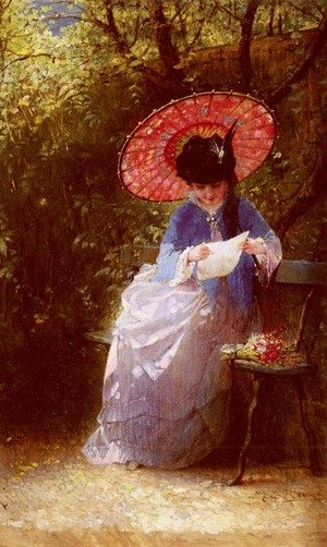 Famous paintings of Parasols and Umbrellas: Young Girl Reading