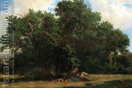 Oak Trees by Alexandre Calame - Reproduction Oil Painting