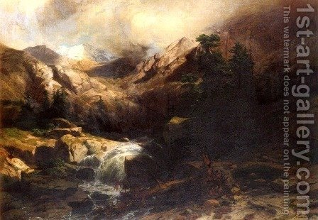 Torrent De Montagne (Mountain Torrent) by Alexandre Calame - Reproduction Oil Painting