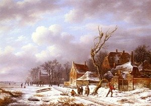 Famous paintings of Villages: Gathering Wood In A Winter Landscape