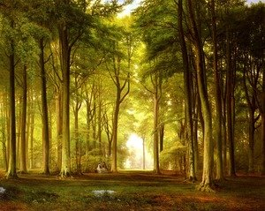 Famous paintings of Trees: Deux Femmes Dans Une Clairière (Two Women in a Clearing)
