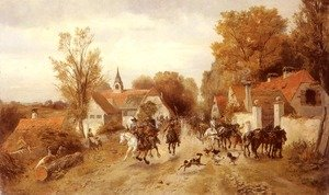 Famous paintings of Villages: The Approaching Cavalry