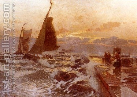 Sailing Ships Returning In Heavy Seas by Heinrich Petersen-Angeln - Reproduction Oil Painting