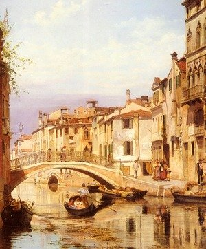 Famous paintings of Clouds & Skyscapes: A Gondola On A Venetian Backwater Canal