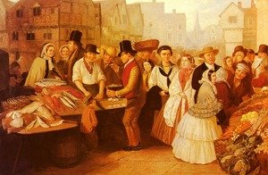 Famous paintings of Fish and Seafood: A Busy Market