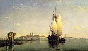 Famous paintings of Ports: On The Lagoon Of Venice
