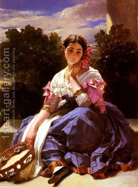 Jeune Fille De L'Ariccia (Young Girl From Ariccia) by Hermann Winterhalter - Reproduction Oil Painting