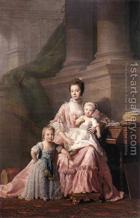 Queen Charlotte with her Two Children by Allan Ramsay - Reproduction Oil Painting