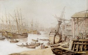 Reproduction oil paintings - Thomas Rowlandson - A View On The Thames With Numerous Ships And Figures On The Wharf