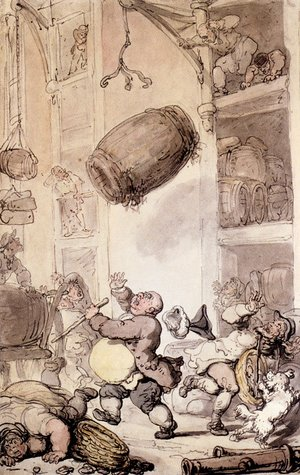 Reproduction oil paintings - Thomas Rowlandson - A Fall In Beer