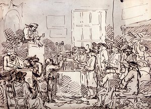 Reproduction oil paintings - Thomas Rowlandson - A Furniture Auction