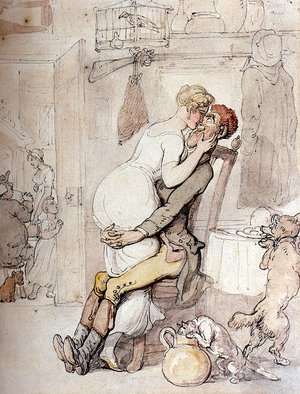 Reproduction oil paintings - Thomas Rowlandson - A Kiss In The Kitchen