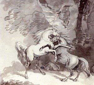 Reproduction oil paintings - Thomas Rowlandson - Horse Fighting On A Woodland Path