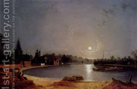 The Thames At Moonlight, Twickenham by Henry Pether - Reproduction Oil Painting