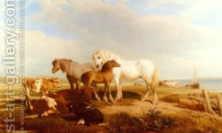 Horses And Cattle On The Shore by Henry Brittan Willis, R.W.S. - Reproduction Oil Painting