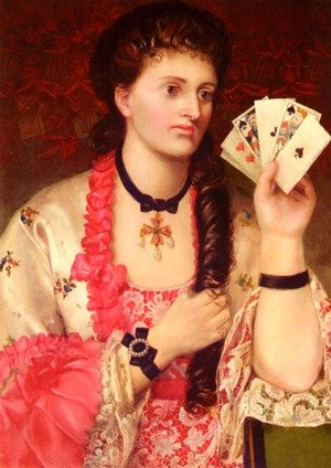 Famous paintings of Card Games: Revealing Her Hand