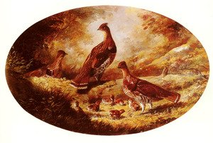 Reproduction oil paintings - Arthur Fitzwilliam Tait - Grouse Family