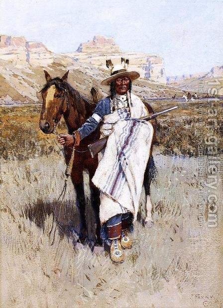 Indian Scout by Henry Farny - Reproduction Oil Painting