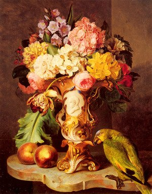 A Still Life with a Vase of Assorted Flowers, Peaches and a Parrot on a Marble Ledge