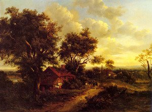 Famous paintings of Villages: A Landscape With A Cottage Near Dorking